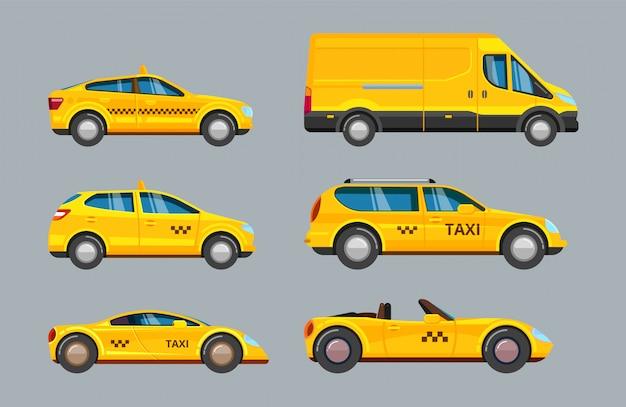 タクシー車。サービス黄色のタクシー輸送のコレクション Premiumベクター