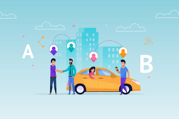 Taxi carsharing ride service. transport rent allocation layout. vehicle pick up people according geolocation on route. Premium Vector