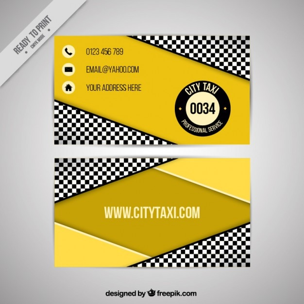 Taxi company, geometric business card Free Vector