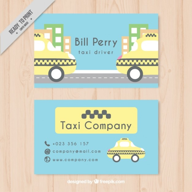 Taxi driver card in pastel colors Free Vector