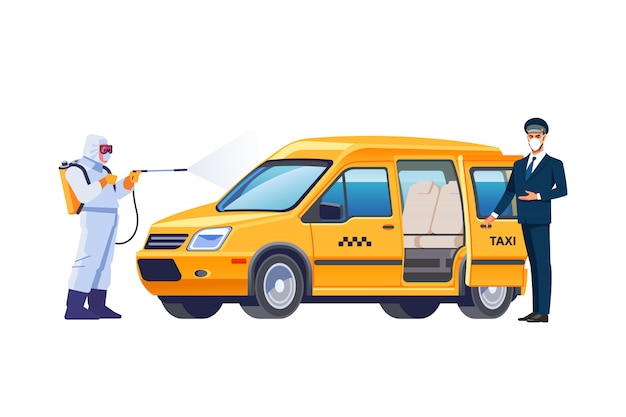 A taxi driver in face mask next to the car. disinfectant worker character in protective mask and suit sprays bacterial or virus in a taxi car. coronavirus or covid-19 protection. cartoon vector. Premium Vector