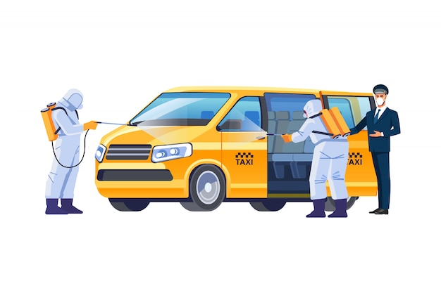 A taxi driver in a protective mask invites the passenger to sit in a spacious clean minibus. covid-19 or protection from the coronavirus pandemic. disinfection of the car. cartoon illustration Premium Vector