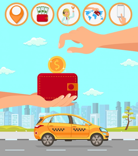 Taxi and driver services Premium Vector