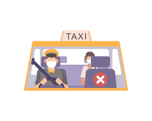 Taxi driver wear a face mask and drive his cab and practicing safety health protocols by emptying front seat social distancing from passenger illustration Premium Vector