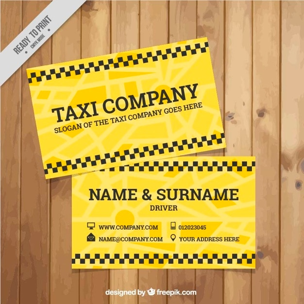 Taxi driver yellow card template