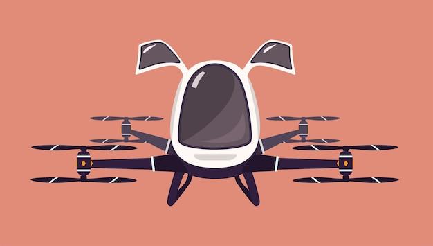 Taxi drone or passenger quadcopter. Premium Vector