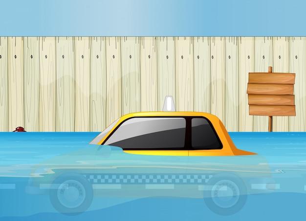 A taxi in flash flood Premium Vector