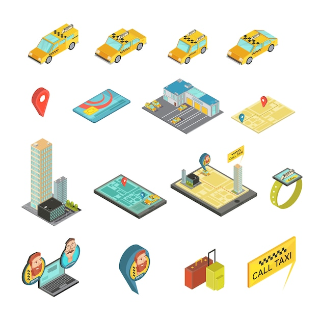 Taxi and gadgets isometric set including cars, houses, payment card, map, smart watch, baggage isolated vector illustration Free Vector