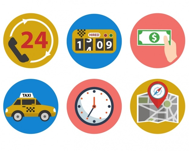 Taxi icons collection