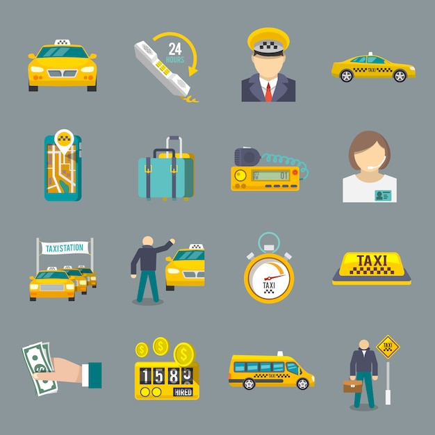 Taxi icons flat set Free Vector