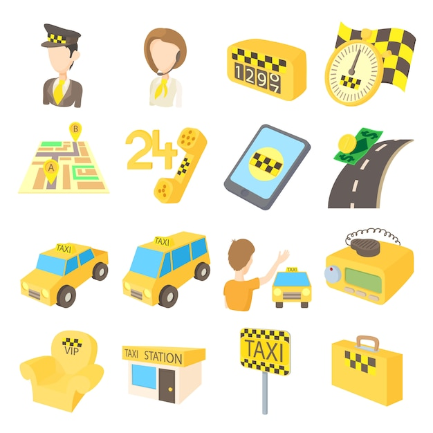 Taxi icons set in cartoon style isolated on white background Premium Vector