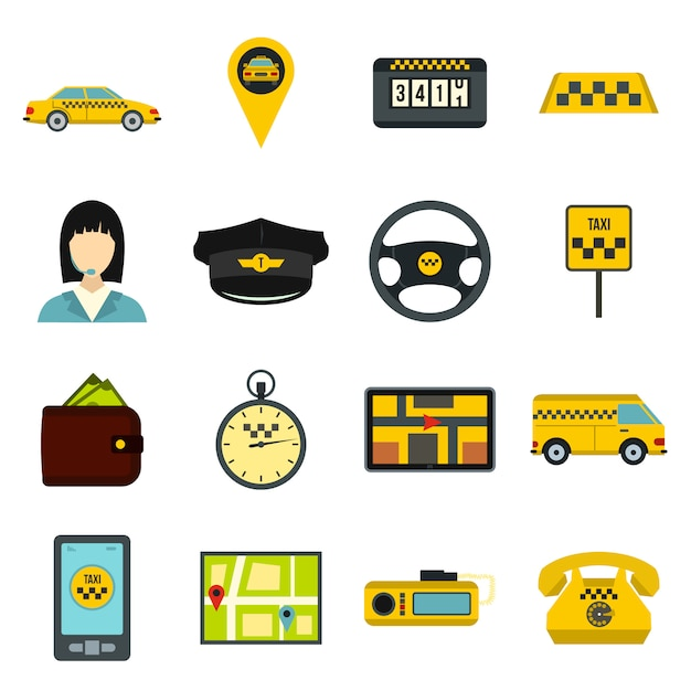 Набор иконок такси Premium векторы