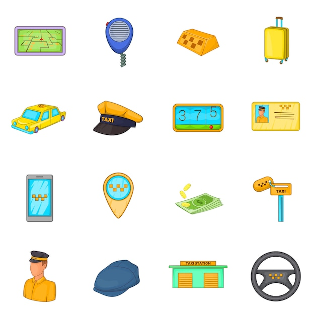 Taxi icons set Premium Vector