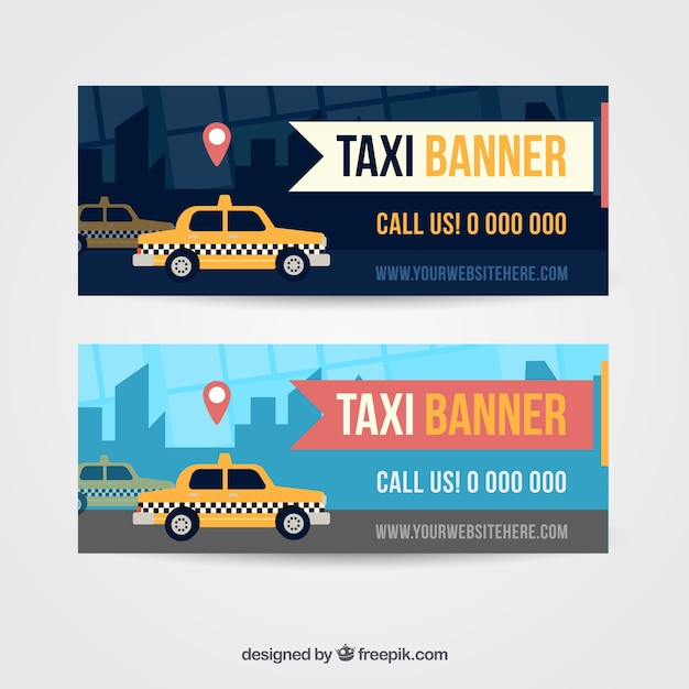 Taxi in the city banners