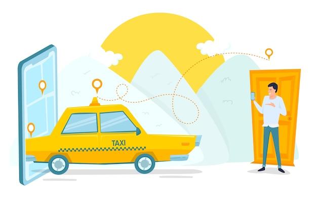 택시 모바일 앱 서비스 및 고객 무료 벡터
