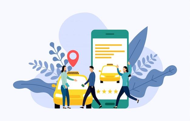 Taxi, mobile city transportation, business concept Premium Vector