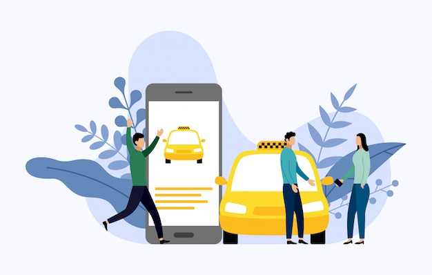 Taxi, mobile city transportation Premium Vector
