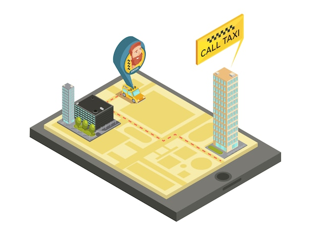 Taxi mobile service composition with houses city map and car driver on screen gadget isometric vector illustration Premium Vector