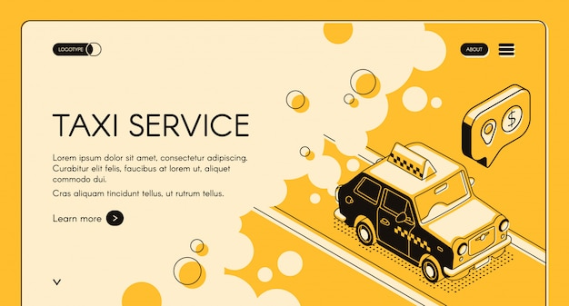 Taxi online ordering service with trip cost calculation web banner or landing page Free Vector