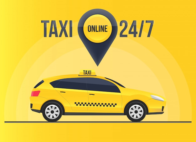 Taxi online service banner, urban city skyscrapers Premium Vector