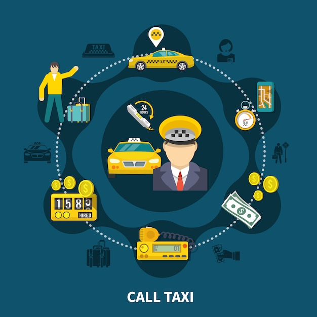 Taxi pool round composition Free Vector