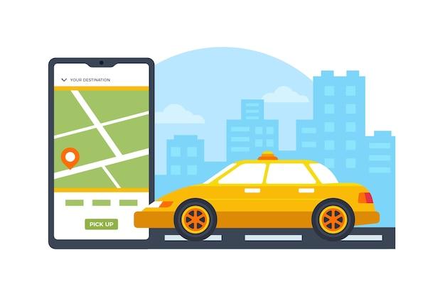 Taxi service app concept Free Vector