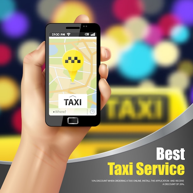 Taxi service application advertisement Free Vector