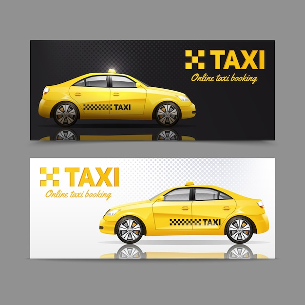 Taxi service banner set with yellow cars with reflection Free Vector