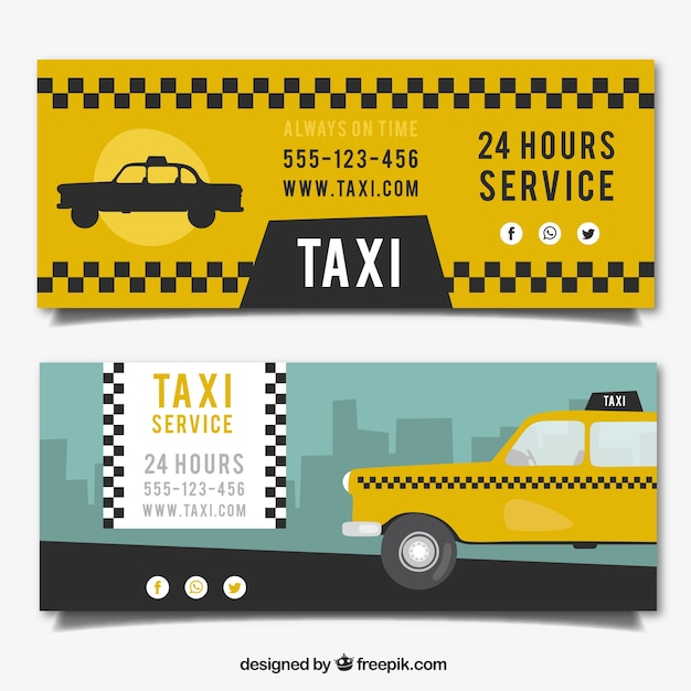 Taxi Service Banners Vector Free Download