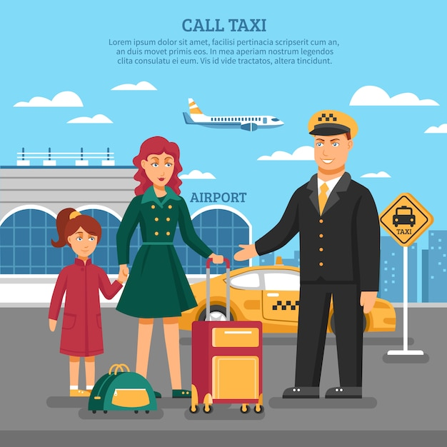 Taxi service illustration Free Vector