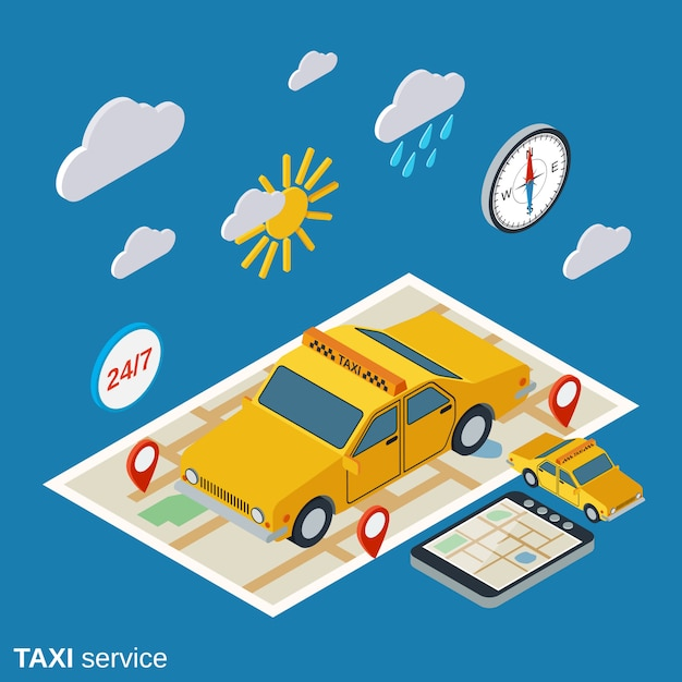 Taxi service isometric illustration Premium Vector