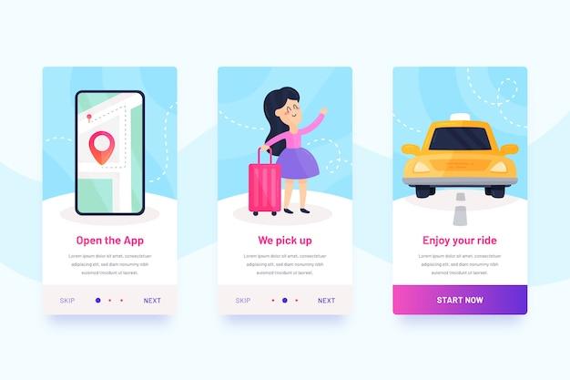 Taxi service mobile interface design Free Vector