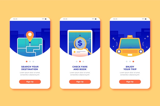 Taxi service onboarding app screens Free Vector