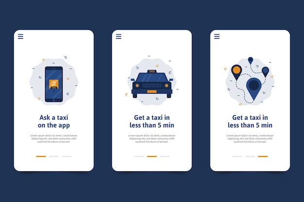 Taxi service onboarding application screens Free Vector