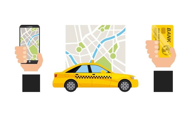 Taxi service public transport app technology Premium Vector