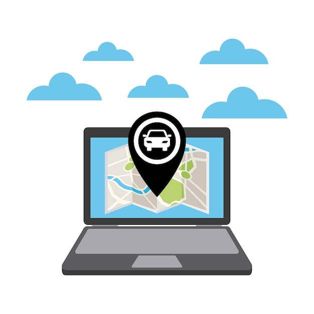 Taxi service public transport app technology Premium Vector