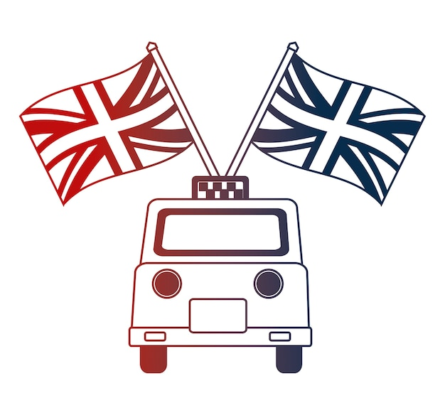 Taxi service with english flags Premium Vector