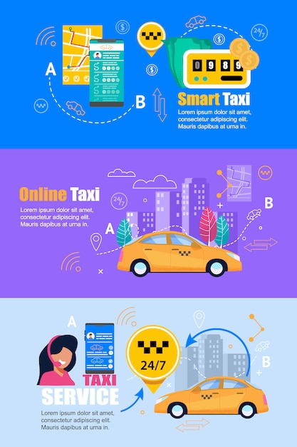 Taxi smartphone service. flat web banner set. Premium Vector