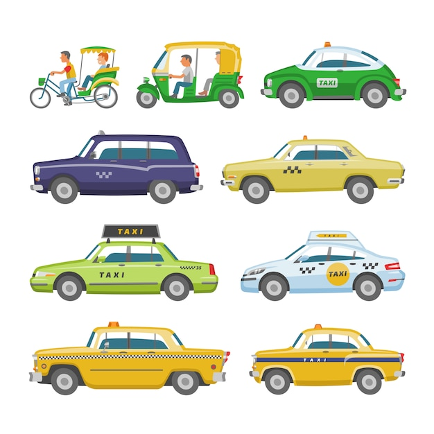 Taxi  taxicab transport and yellow car transportation illustration set of city cab auto on taxi-rank and taxi driver in automobile  on white background Premium Vector