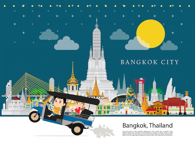 Taxi thai and tourism to bangkok city Premium Vector