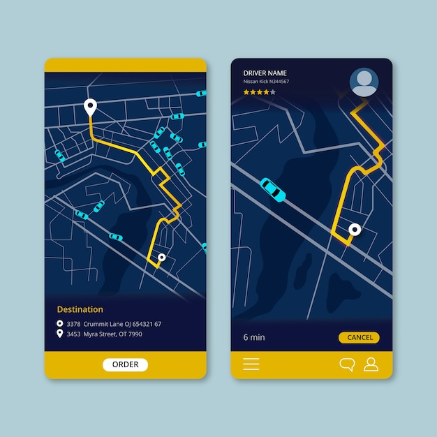 Taxi transport app interface Free Vector
