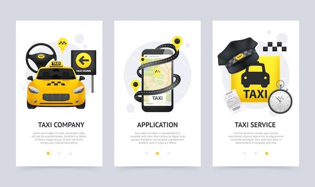 Set di bandiere verticali di taxi Vettore gratuito