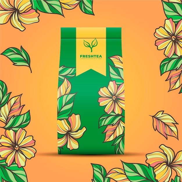 Tea ad with drawing decoration Free Vector