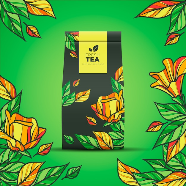 Tea ad with hand-drawing decoration Free Vector