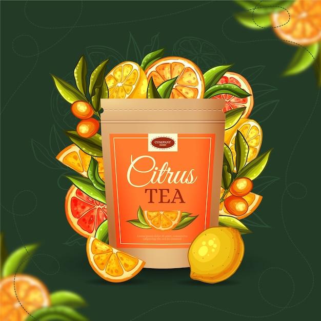 Чайная реклама с ручной росписью Бесплатные векторы