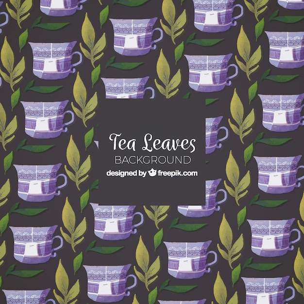 Tea background with leaves and cups