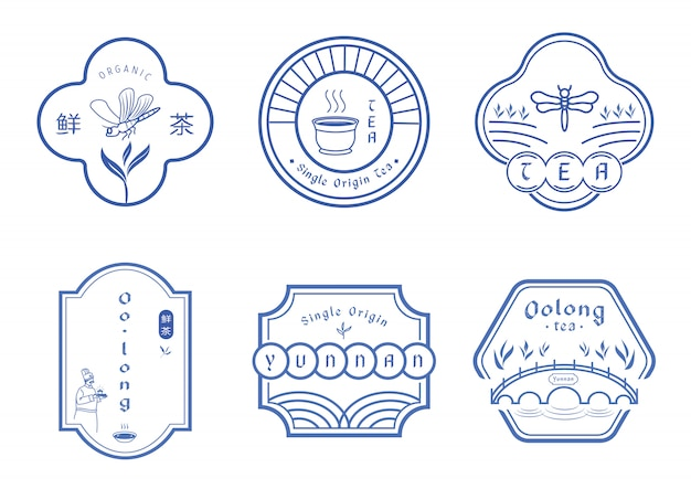 Tea badge design with chinese blue pattern style Premium Vector