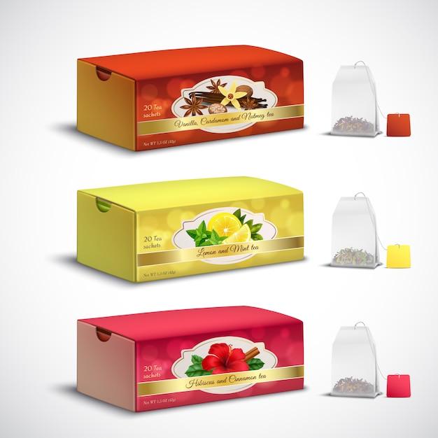 Tea bags packaging realistic set Free Vector