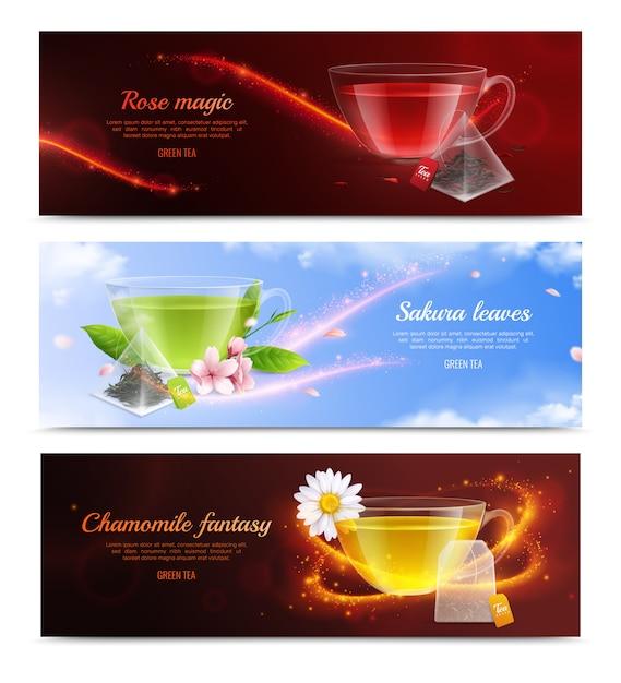 Чайный пакетик для чая реалистичный баннер с розой волшебный сакуры листья и ромашки фантазии заголовки векторные иллюстрации Бесплатные векторы
