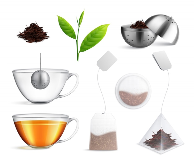 Tea brewing bag realistic icon set different types of tea brewing strainer and tea bag par example vector illustrationk Free Vector